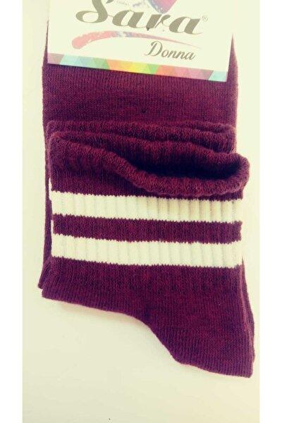 2 Çift Bordo Patik Çorap