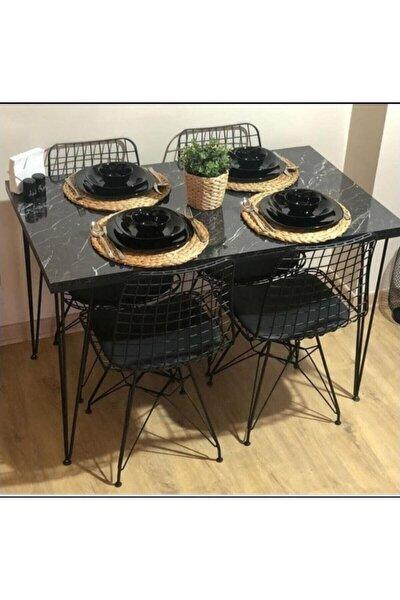 Mermer Görünümlü Masa Sandalye Takımı 4 Adet Tel Sandalye Masa Takımı