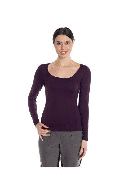 Kadın Bordo Uzun Kollu Basic Tişört - Bga031267