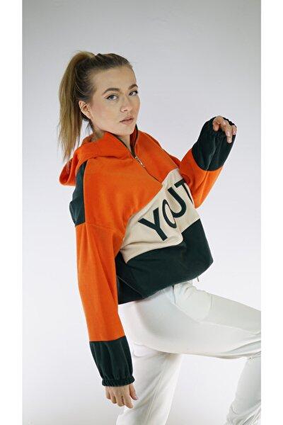 Turuncu Haki Oversize Yarım Fermuarlı Kapüşonlu Polar Sweatshirt (Unisex)