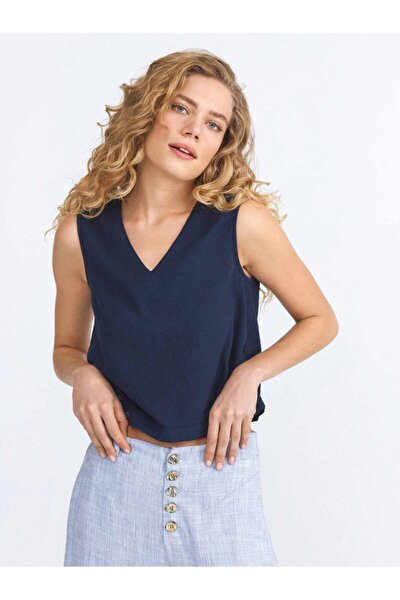 Xınt Düğme Detaylı Pamuklu Rahat Kesim Bluz