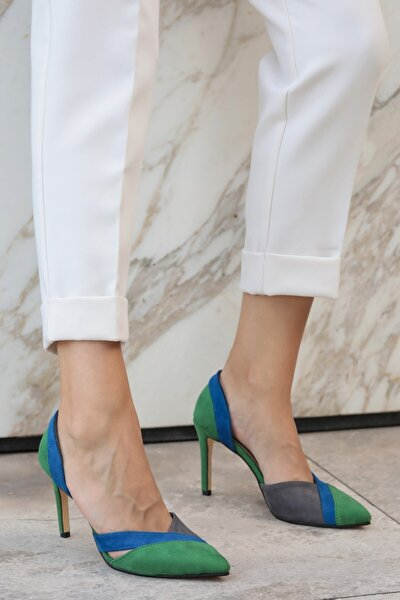 Anita Yeşil Bloklu Topuklu Ayakkabı