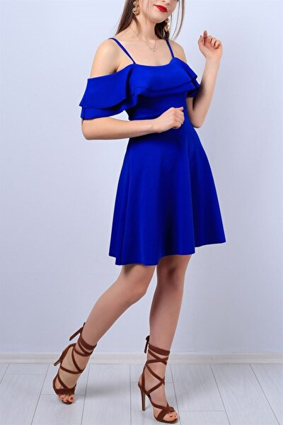 Esnek Krep Kumaş Yakası Iki Kat Volanlı Askı Detaylı Mavi Abiye Elbise Mavi Mezuniyet Elbisesi