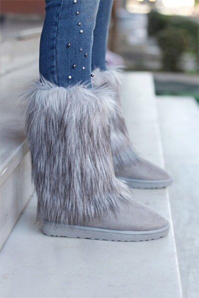 Kadın Gri Renkli Tüylü Içi Yünlü Bot Ayakkabı