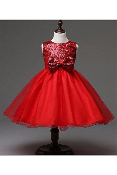 Kırmızı Payetli Kız Çocuk Abiye Kız Çocuk Elbise Çocuk Kıyafet