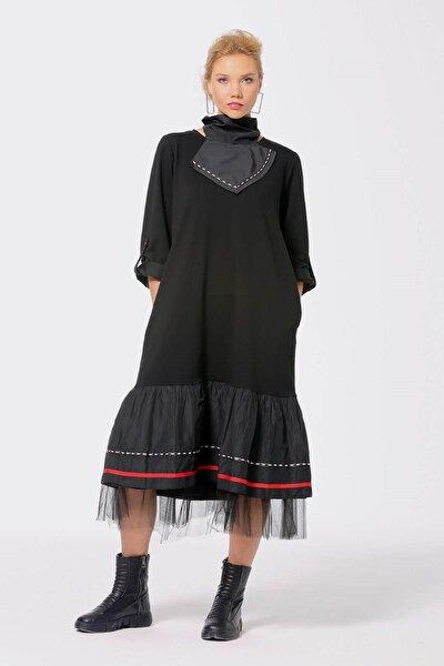 Kadın Si?yah Yaka Detaylı Elbise 203-247002