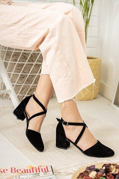 Kadın Siyah Çapraz Model Topuklu Klasik Ayakkabı