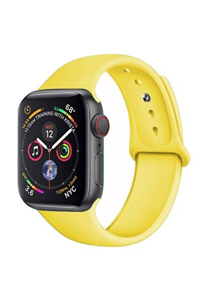 Apple Watch 42 44 Mm Silikon Kordon Sarı
