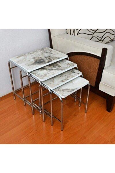 Beyaz Mermer Desenli Parlak Mikelaj Ayaklı 4'lü Zigon Sehpa