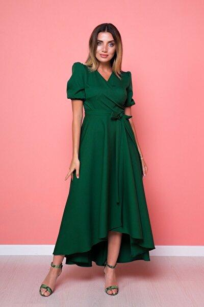 Kadın Zümrüt Asimetrik Kesim Elbise