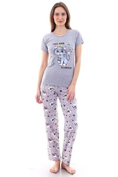 Kadın Gri Kedi Baskılı Pijama Takımı