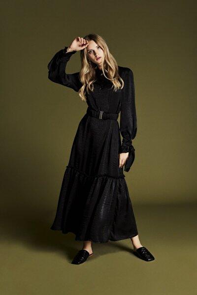Elery Fırfırlı Elbise Siyah