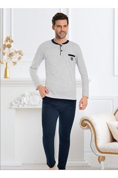 Erkek Gri Pamuk Esnek Pijama Takımı