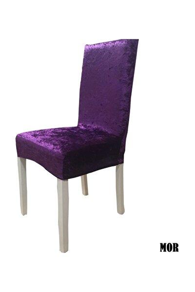 Ipek Kadife Likralı Sandalye Kılıfı 6'lı Paket Mor
