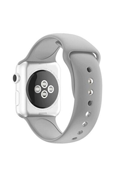 Apple Watch 42 44 Mm Silikon Kordon Açık Gri