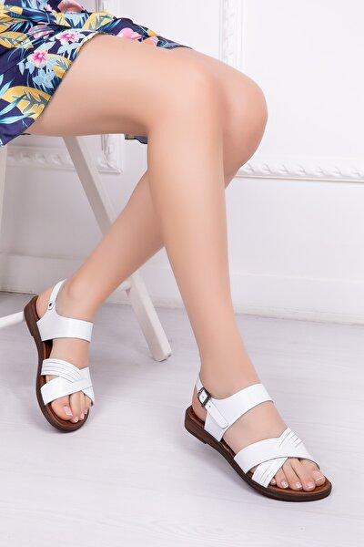 Hakiki Deri Beyaz Kadın Deri Sandalet Dp-0080