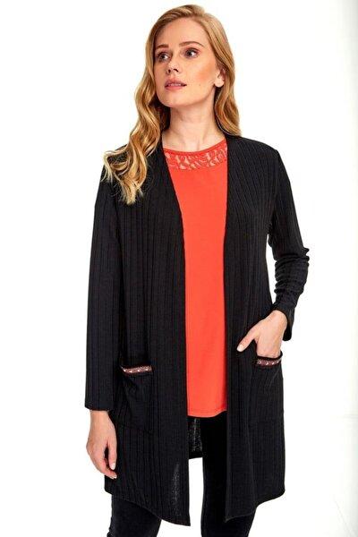 Kadın Siyah Uzun Kol Cepleri Şeritli Hırka 020-4505