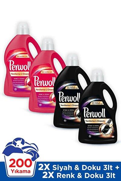 Hassas Bakım Sıvı Çamaşır Deterjanı 4x3L (200 Yıkama) 2 Siyah+2 Renkli Giysiler için Yenileme&Onarım