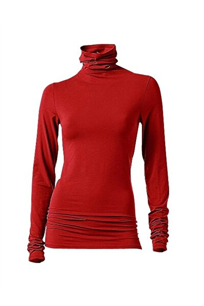 Kadın Kırmızı Basic Boğazlı Tişört - Bga062952