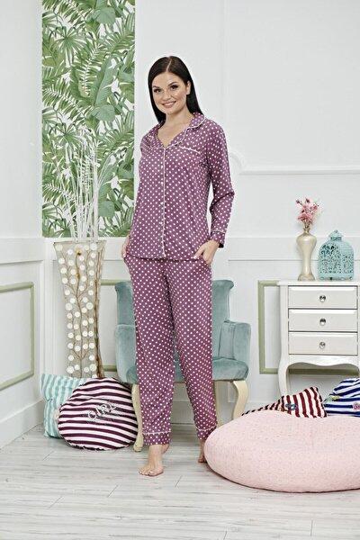 Kadın Mor Olivera Dokuma Puantiyeli Pijama Takımı