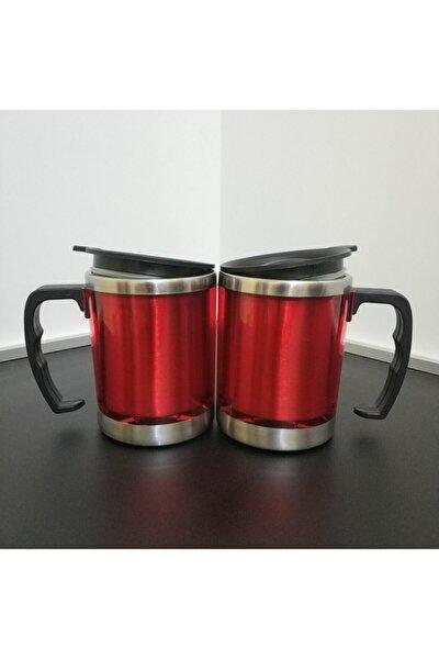 2'li Sevgili Kombini Kırmızı Renk Paslanmaz Çelik Kupa Bardak Termos Vakumlu 450 Ml