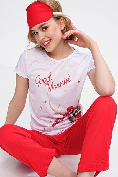 Kadın Beyaz Uyku Bantlı Bisiklet Yaka Geyik Baskılı Kısa Kol Pijama Takım ALC-X5585