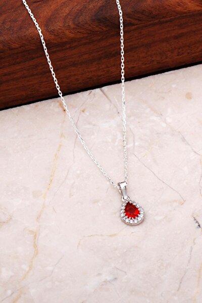 Lal Mini Damla Gümüş Kolye 7037