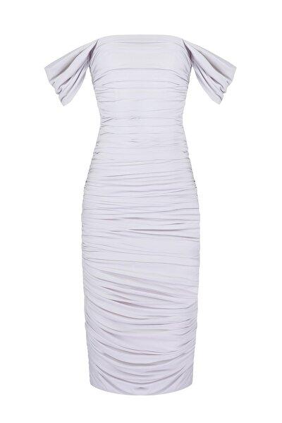 Kadın Beyaz Drapeli Bridal Düşük Kollu Elbise