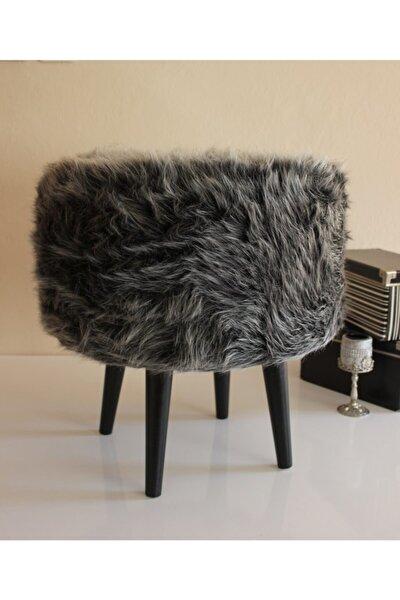 Gürgen Ahşap Ayaklı Dekoratif Uzuntüy Gri Siyah Antrasit Yuvarlak Pelüş Puf Koltuk Sandalye