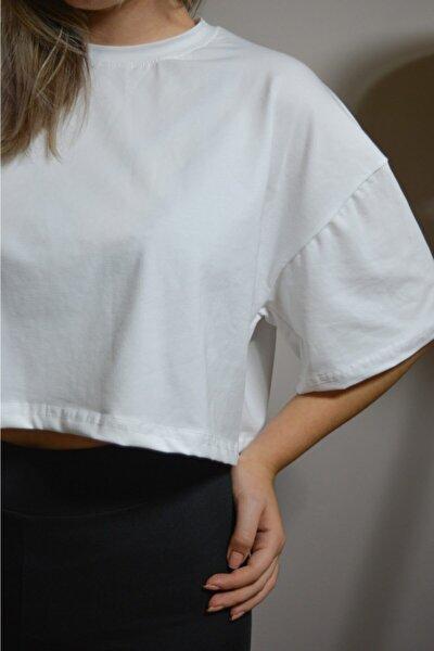 Beyaz Oversize Crop T-shirt