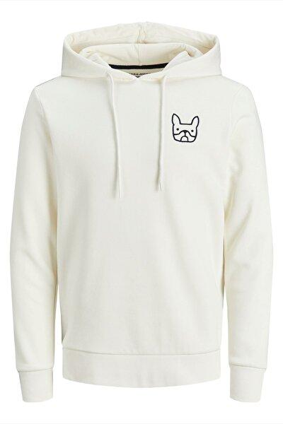 Erkek Beyaz Fit Sweatshirt - 12195229