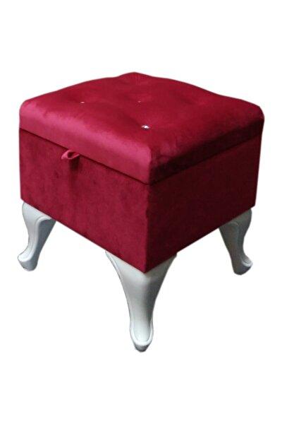 Ertok Sandık Puf Sandıklı Puf Taş Işlemeli Vişne Kırmızısı