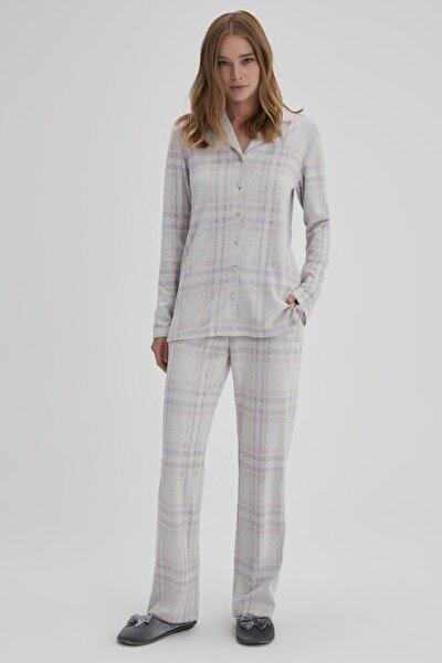 Kadın Bej Jakarlı Interlok Ekose Gömlek Uzun Kol Pijama Takımı