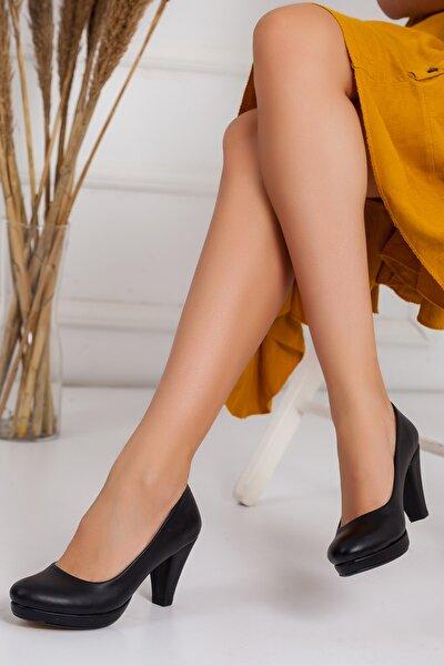 Kadın,siyah Cilt,platform Topuklu Klasik Ayakkabı