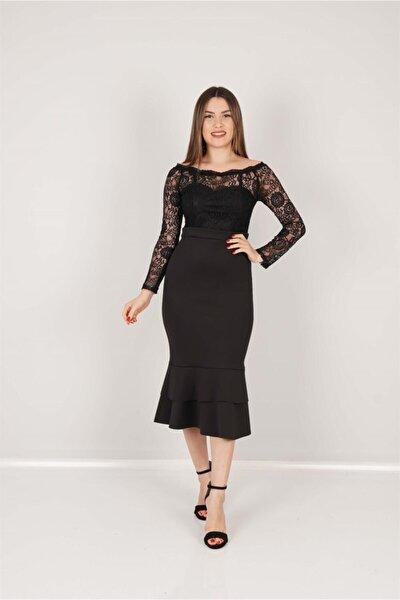 Üst Güpür Alt Scuba Eteği Volanlı Elbise - Siyah