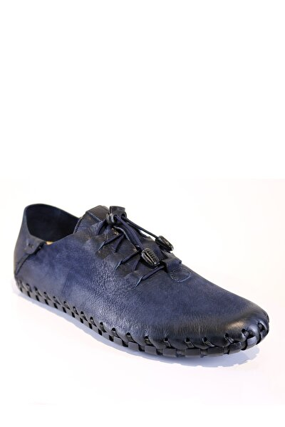 Erkek Hakiki Deri Lacivert Çarık Modeli Bağcıklı Günlük Ayakkabı