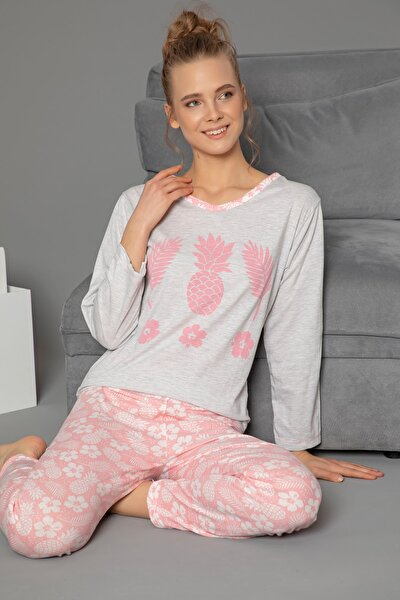 Pamuklu Baskılı Uzun Kol Pijama Takım