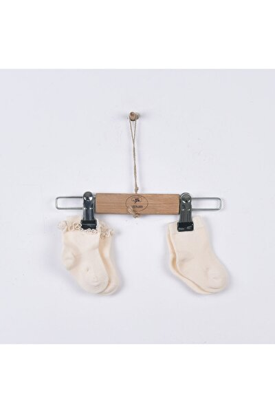 Kız Çocuk Organik Fistolu 2li Koyu Ekru Çorap