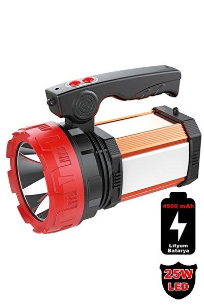 8100-yp 25w Ultra Güçlü Şarjlı El Feneri Projektör Sos+powerbank+usb Çıkış+25w Yan Aydınlatma