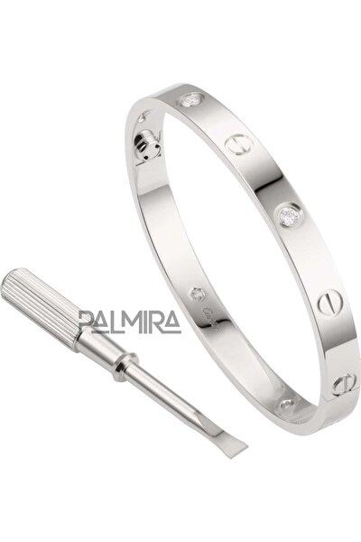 Gümüş Renk Cartier Love Taşlı Çelik Bileklik