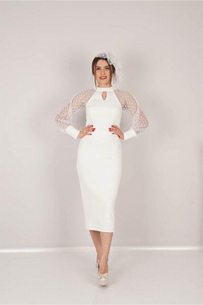 Scuba Kumaş Puantiye Detaylı Kalem Elbise - Beyaz