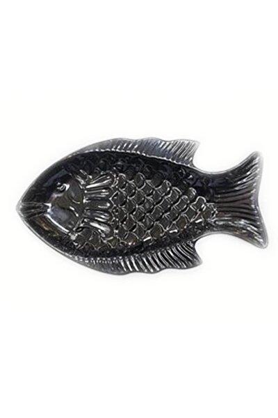 Balık Desenli Siyah Servis Tabağı Thermo Melamin 32*18cm