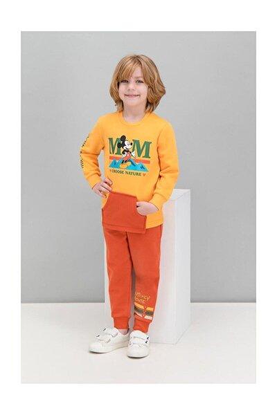 Erkek Çocuk Sarı Mickey Mouse Lisanslı Kanguru Cepli Eşofman Takımı