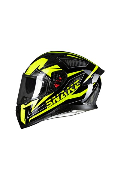 Mt`s 917 Snake Neon Tam Kapalı Motosiklet Kaskı