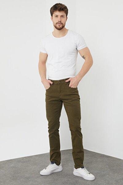 Erkek Haki 5 Cep Riklalı Pantolon