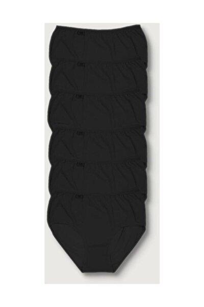 Kadın Siyah 6'lı Paket Likralı Bato Külot Elf568t0924ccm6 Siyah 2xl