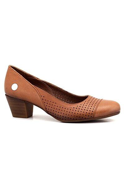 Taba Deri Kadın Topuklu Ayakkabı
