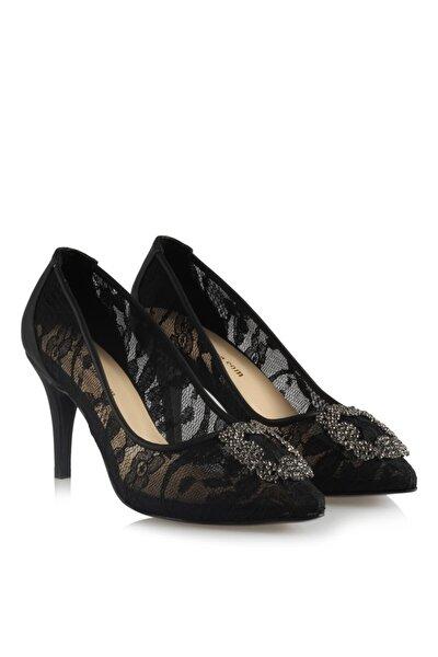 41-42-43-44 Numara Stiletto Taşlı Büyük Numara Kadın Ayakkabısı