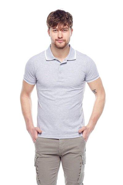 Erkek Gri Melanj G-1 Polo Yaka Tişört