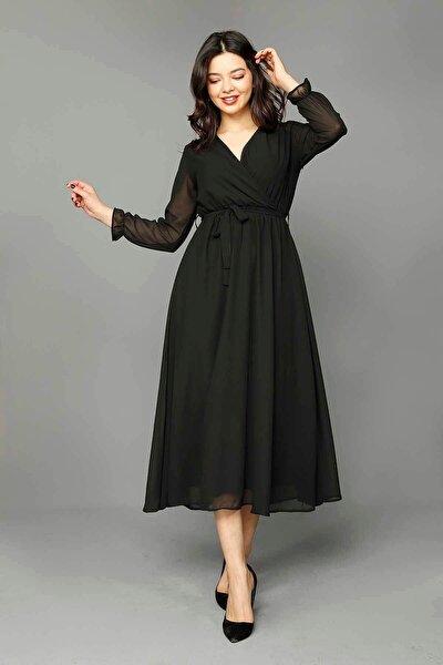 Siyah Şifon Elbise